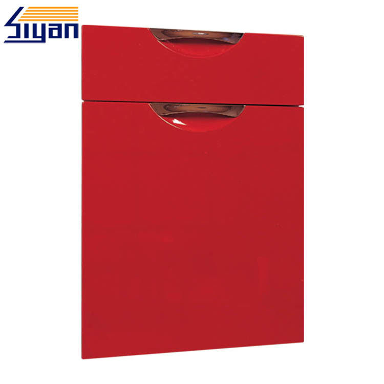 Red High Glossy Modern Kitchen Cabinet Doors Replacement With E1/E2 MDF Board